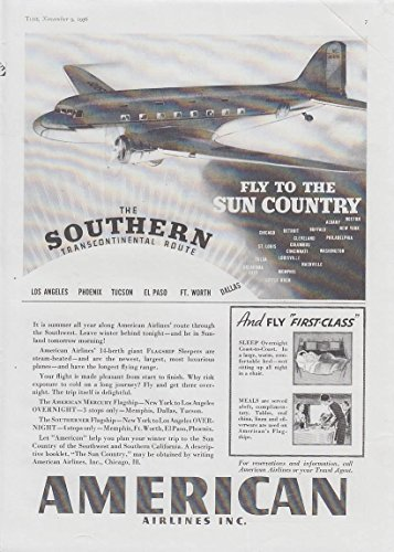 Fly To The Sun Country Southern Route   American Airlines Dc 3 Ad 1936 T