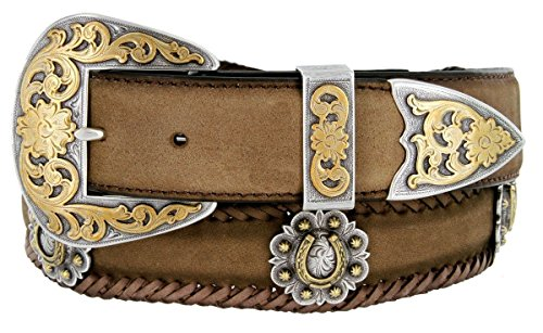 - Gold Horseshoe Berry Conchos Leather Scalloped Belt Brown 36