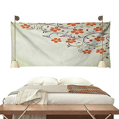Ladybugs Bedroom Tapestry Flower Frame with Tiny Little Ladybugs and Swirl Branches Springtime Theme Tapestry Throwing Blanket 84W x 70L InchPale Green Red
