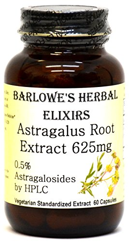 Astragalus Extract 0.5% Astragalosides by HPLC - 60 600mg VegiCaps - Stearate Free, Bottled in Glass! FREE SHIPPING on orders over $49!