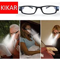KIKAR LED light (+3.00) Unisex Reading Glasses with Sturdy Stylish Case - Improve your vision even in the dark!