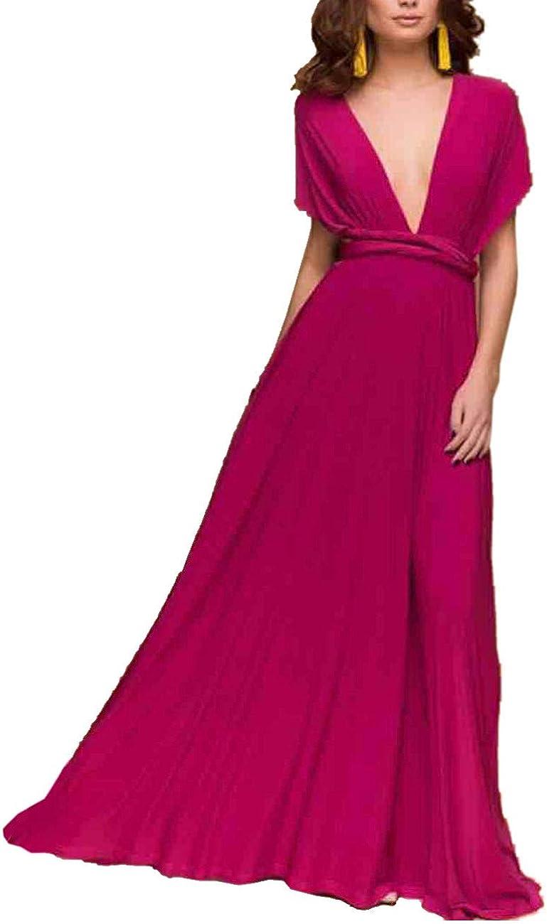 TALLA L. EMMA Mujeres Falda Larga de Cóctel Vestido de Noche Dama de Honor Elegante sin Respaldo Rojo Rosa