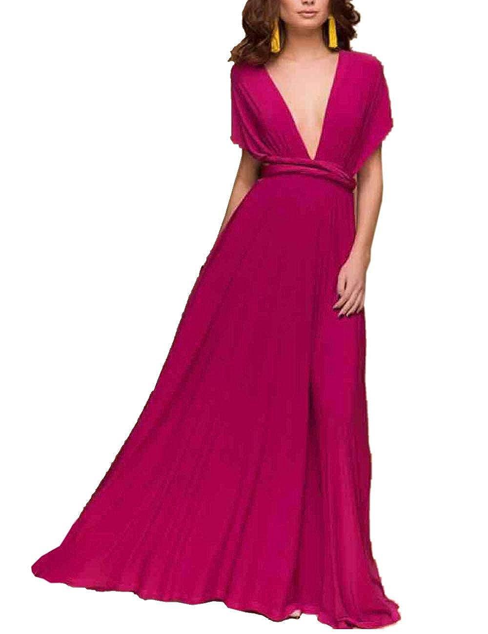 TALLA S. EMMA Mujeres Falda Larga de Cóctel Vestido de Noche Dama de Honor Elegante sin Respaldo Rojo Rosa S