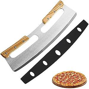 Tagliapizza, Coltello Pizza in Acciaio Inox 35cm con Manico in Legno, Coltello da Pizza Veloce e Anche Professionale…