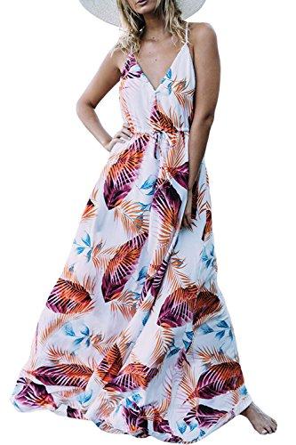Verano De Mujer Con Cuello En V Vestido Boho Floral Slip MAXI Beach 4