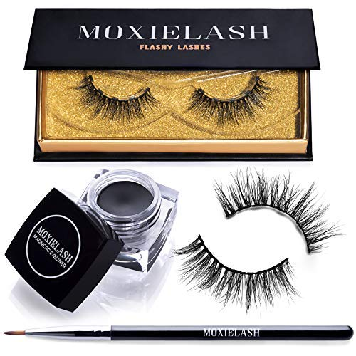 MoxieLash Flashy Bundle - MoxieLash Magnetic Gel Eyeliner for Magnetic Eyelashes - No Glue & Mess Free - Fast & Easy Application - Set of Flashy Lashes & Brush Included by MoxieLash
