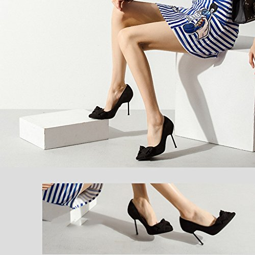 High Female height tie Sandals Boys' Wedding 9CM Bow heels women's Wild with Size shoes 39 Pointed shoes Single Fine Red Color shoes Black Heel Shoes 8wXqvUw