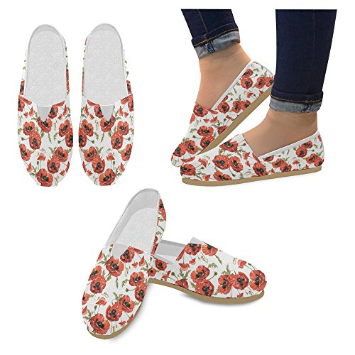 Mocassini Da Donna Di Interestprint Classico Su Tela Casual Slip On Moda Scarpe Sneakers Mary Jane Flat Red Poppy