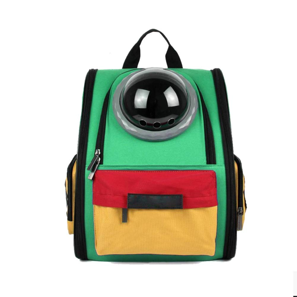 GREEN Four-piece suit GREEN Four-piece suit Pet Carrier Backpack, Pet Bag Out of The Portable Backpack Handbag Breathable Head Out Design (color   Green, Size   Four-Piece Suit)
