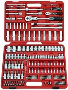 Famex Werkzeug 525-18 - Juego llave de chicharra articulada, llaves de vaso, acodadas y puntas (174 piezas)