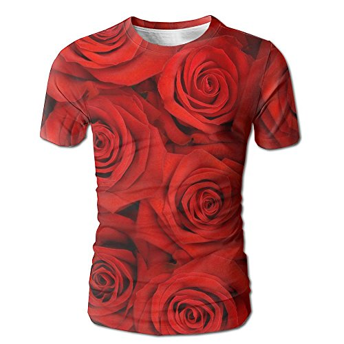Nj Devils Earring (ZhiqianDF Mens Big Bunch Of Red Roses Casual Style White Shirt XXL)