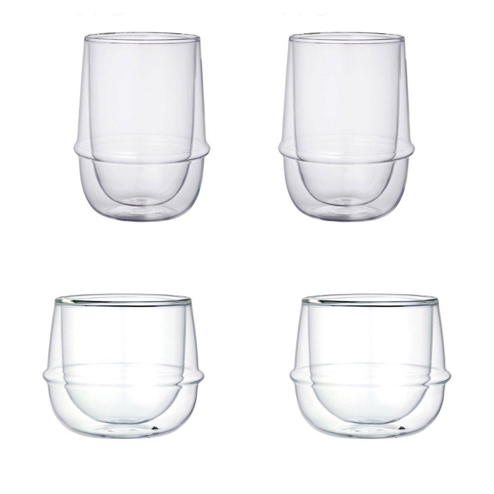 KINTO KRONOS Double Wall Iced Tea Glass and Wine Glass, Set of 4
