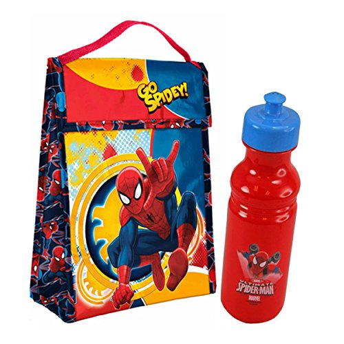 "Mavel Ultimate Spider-man Super Hero in Training ""Go Spidey"" Insulated Lunch Bag Plus Bonus Spider-man Pull Top Water Bottle!"