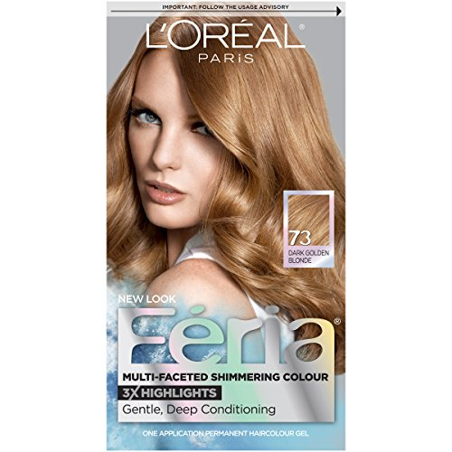 Shimmer Feria Color Hair Blonde - L'Oréal Paris Feria Multi-Faceted Shimmering Permanent Hair Color, 73 Golden Sunset (Dark Golden Blonde) (1 Kit) Hair Dye