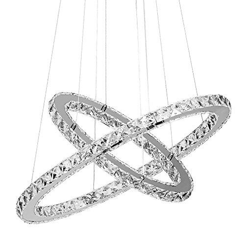 Boshen LED One Two Ring Crystal Chandelier Pendant Ceiling Lamp Lighting Round Light Fixtures for Living Room Foyer