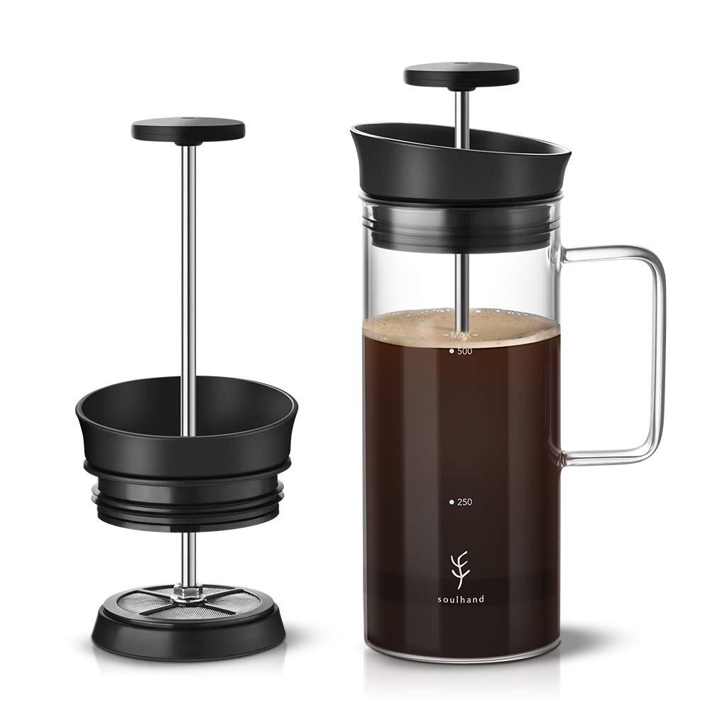 Soulhand French Press Coffee Maker Coffee Press with Micro-Filter No Coffee Grounds Heat Resistant Durable Borosilicate Glass Coffee Tea Brewer 17oz Perfect for Home Office Camping Travel