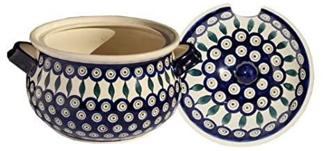 13.4 cups Polish Pottery Soup Tureen with Ladle Zaklady Ceramiczne Boleslawiec 1004//1367-56 Peacock Pattern