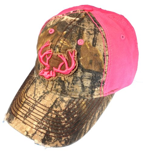Team Realtree Womans Camo Cap Pink Deer Horns And Back With Real Tree Camo Front