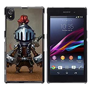 A-type Arte & diseño plástico duro Fundas Cover Cubre Hard Case Cover para Sony Xperia Z1 L39 (Tiny Knight Funny Character Cartoon Game)
