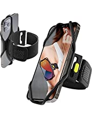 """Bone Run Tie 2 (2nd Gen) Phone Holder for Running Armband Universal Cell Phone Holder, Fits Phone Size 4.7-7.2 Inches for iPhone 12 11 Pro XS XR X 8 7 Plus Samsung Galaxy S9 S8 Note 10 Plus (Black / 9.8-15.7"""")"""