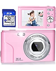 $53 » Digital Camera, FHD 1080P 36.0 MP Vlogging Camera Rechargeable Mini Camera Kids Camera Pocket Camera with 32GB SD Card 16X Digital Zoom, Compact Portable Camera for Kids Students Teenager-Pale Pink