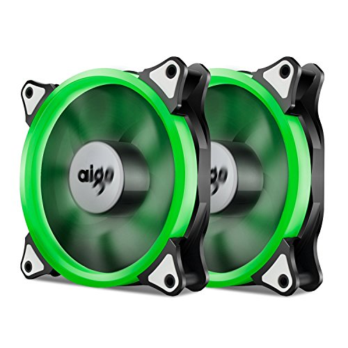 Aigo, Halo LED 120mm 12cm PC CPU Computer Case Cooling Neon Quite Clear Fan Mod 4 Pin/3 Pin (2 Pack Green) by Aigo