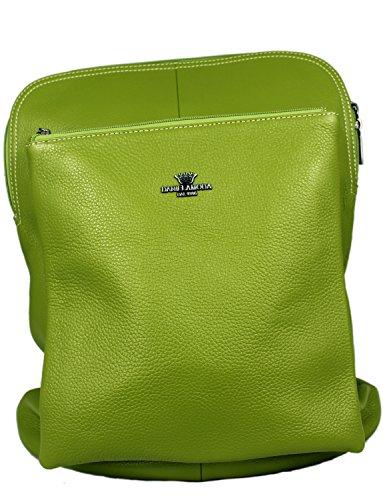 Rucksack amp; Messenger Black Daniela Moda 37cmx31cmx13cm Bag Black Italian Green Leather Turquoise amp; Backpack qn71Tt7