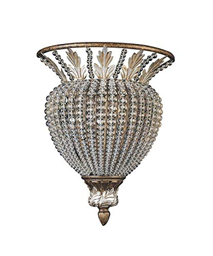 Crystorama 6721-WP Crystal Accents One Light Wall Sconce from Roosevelt collection in Bronze/Darkfinish, 5.00 inches - Manchester One Light Sconce