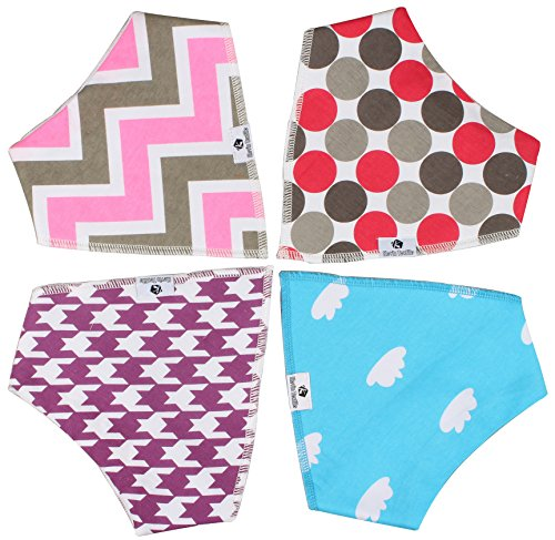 Front Multi Purpose Feeder (Baby Bandana Drool Bibs for Drooling and Teething, 4 Pack Gift Set for Boys and Girls