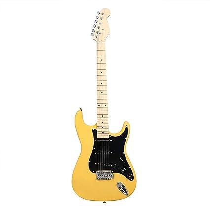 NUYI-4 Guitarra eléctrica Genuina ST Serie Guitarra eléctrica Amarillo Principiante práctica Tocando Guitarra eléctrica