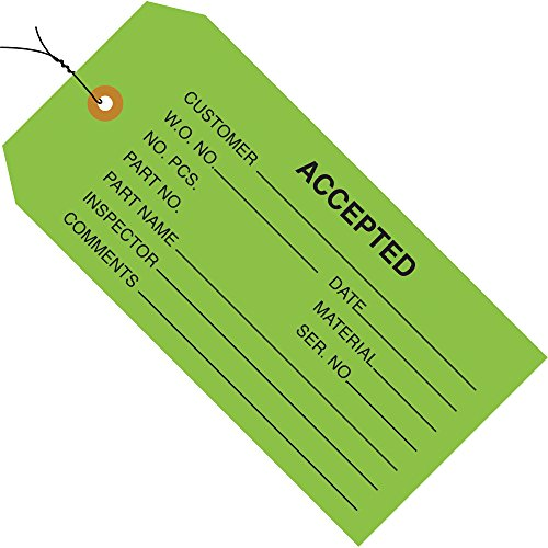 Aviditi G20023 13 Point Cardstock Pre-Wired Accepted Inventory Tag, 4-3/4