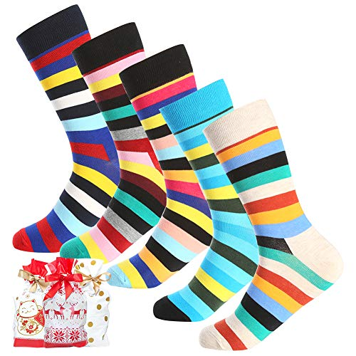 Bonangel Men's Fun Dress Socks - 5 Pairs Colorful Funny Novelty Crazy Crew Socks Pack,Cool Casual Socks with Bright Stripe Patterns (5 pairs-Stripe) -