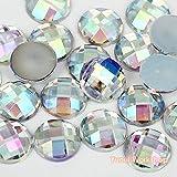 (Clear AB, 5mm, 500pcs) Round Shape 5mm-12mm Acrylic Flat Back Facet Rhinestones Cabochons Deco Scrapbooking Art Nail Craft AB Colors