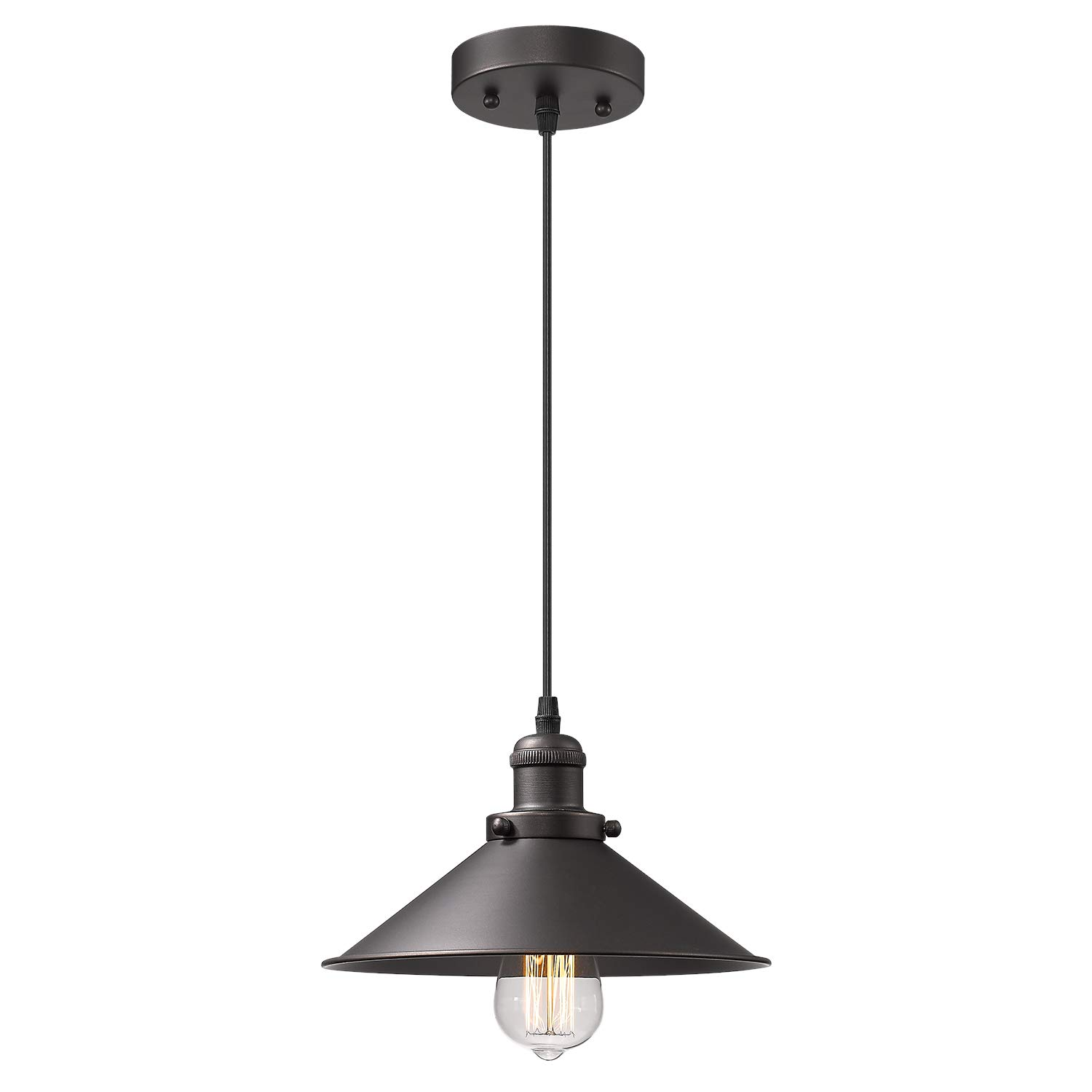 Zeyu Industrial Pendant Light, Vintage Hanging Light Fixture for Dining Room, Oil Rubbed Bronze Finish with Metal Shade, 102-1 ORB
