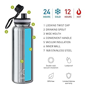 Takeya ThermoFlask Insulated Stainless Steel Water Bottle, 40 oz, Steel