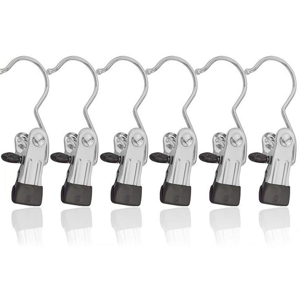 Kicode 10 St/ück Tragbares Metall W/äscherei Haken Multi-Funktions-Clip Kleidung Boot Hanger Halte Clips
