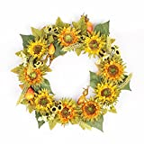 FAVOWREATH 2018 New Vitality Series Handmade 14 inch Yellow Sunflower,Wheat,Maple leaf Dry Branch Wreath For Front Door/Wall/Fireplace Wedding Autumn/Summer Floral Decor
