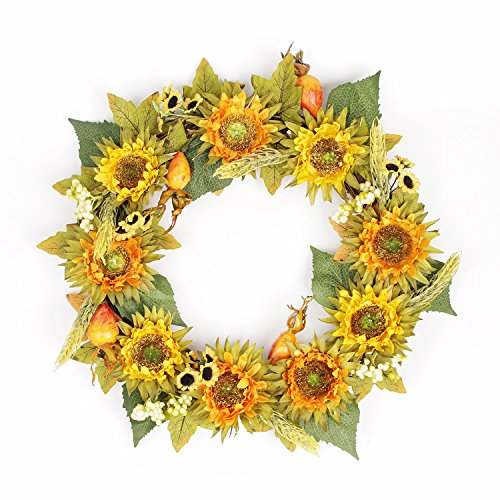 FAVOWREATH 2018 New Vitality Series Handmade 14 inch Yellow Sunflower,Wheat,Maple leaf Dry Branch Wreath For Front Door/Wall/Fireplace Wedding Autumn/Summer Floral Decor by FAVOWREATH