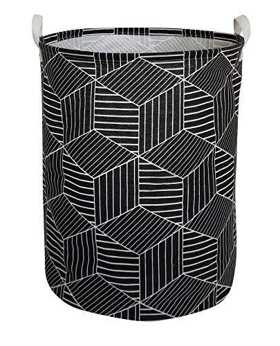 HIYAGON Large Sized Storage Baskets with Handle,Collapsible & Convenient Home Organizer Containers for Kids Toys,Baby Clothing(Black Rhombus)