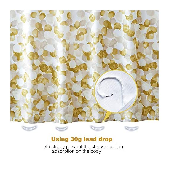 ARICHOMY Shower Curtain for Bathroom Fall Fabric Curtains Set Waterproof Colorful Flower Golden Gold Color with Standard… - The shower curtain is golden color, Large digital printed design is with vibrant colors, clear image, no fading. It is gorgeous and brightens up your bathroom tremendously. The curtain is is made of high quality durable microfiber fabric, 100% polyester waterproof, Non vinyl, Non PEVA, Environmentally friendly, dries quickly. The shower curtain for bathroom size of 72 x 72 inch will fit standard size shower / tub areas, No liner needed. - shower-curtains, bathroom-linens, bathroom - 51zfzkCuVmL. SS570  -
