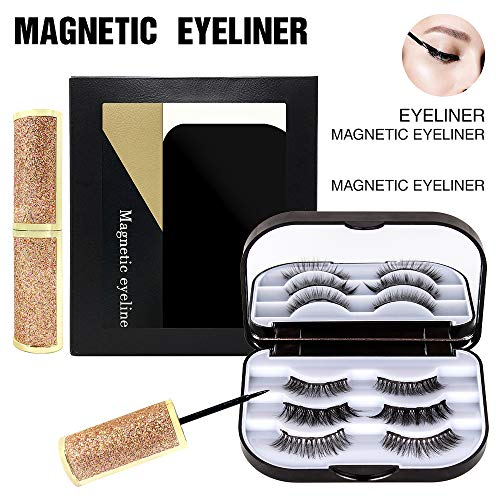 XinDio Magnetic Eyelashes with Eyeliner Set, 3 Pairs Different Natural Magnetic Eye Lashes, Easy to use without using Tweezer