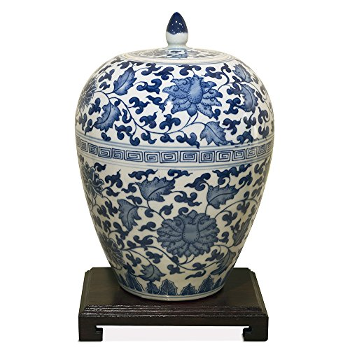 white and blue ginger jar 18 - 8