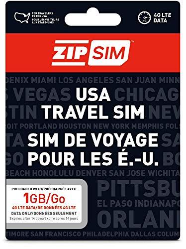 ZIP SIM Prepaid USA SIM For Travelers DATA Only 1GB, 14 Days Plan(Universal : Standard, Micro, Nano SIM) ()