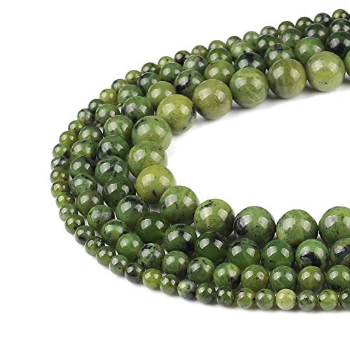 FANGQUN 60pcs 6mm Canadian Jade Round Loose Beads for Jewelry Making Natural Stone DIY Bracelets Necklace Earring Handmade Polished Gemstone Craft Gift 1 Strand 15