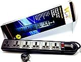 VCT 220V-250V Universal Power Strip & Surge Protector, 6-Outlets, Black (WPS-B)