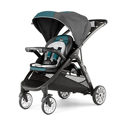 Chicco BravoFor2 LE Standing/Sitting Double Stroller, Eucalyptus