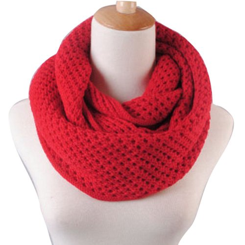 Eforstore Unisex Winter Warm Knitted Thicken Hollow Out Neckerchief Knit Infinity Scarf Christmas New Year Birthday Gift For Your Family and Friends Women Men (Red)