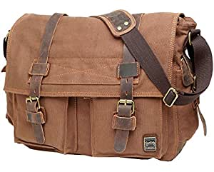 Berchirly Canvas Cow Leather Vintage Classic Army Messenger Shoulder Bag Cross-body Bags