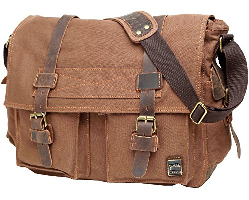 Berchirly Canvas Cow Leather Vintage Classic Army Messenger Shoulder Bag Cross-body Bags by Berchirly