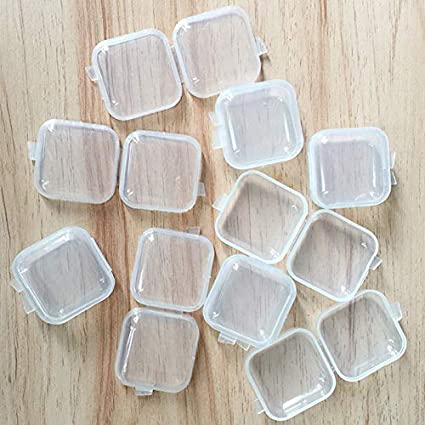 12 Pieces Clear Storage Box Jewelry Nail Art Beads Pin Small Things Cases